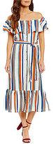 Moon River Off-the-Shoulder Stripe Midi Dress
