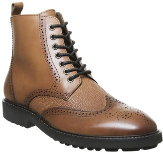 Office Benedict Lace Up Brogue Boots Tan Leather