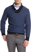 Peter Millar Contrast Shawl-Collar Pullover Sweater, Blue