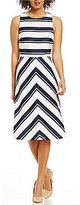 Daniel Cremieux Ella Crew Neck Sleeveless Striped Ponte Knit Dress