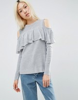 Asos Fine Sweater With Ruffle Cold Shoulder