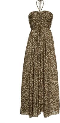 Zimmermann Suraya Ruche Silk Leopard Dress