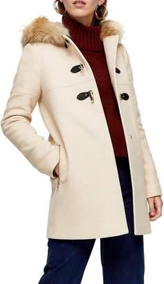 Topshop Patty Faux Fur Trim Hooded Coat