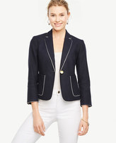 Ann Taylor Home All Tall Tall Piped Linen Blend Blazer Tall Piped Linen Blend Blazer