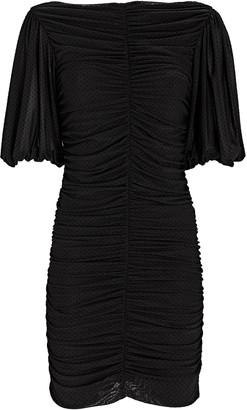 Ganni Puff Sleeve Dotted Mesh Mini Dress