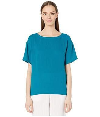 Eileen Fisher Organic Cotton Lofty Gauze Bateau Neck Boxy Top (Jasper) Women's Clothing
