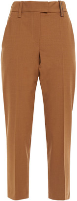 Brunello Cucinelli Cropped Bead-embellished Woven Tapered Pants