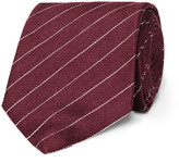 Dunhill 8cm Striped Linen And Mulberry Silk-blend Tie