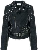 Aviu embellished textured biker jacket
