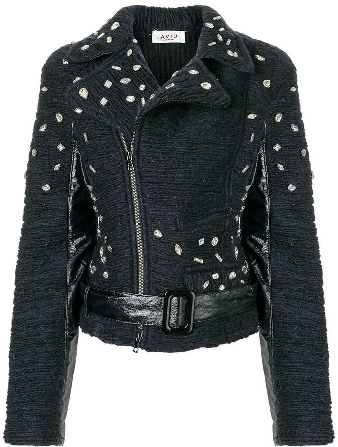 Aviu embellished textured biker jacket