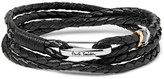 Paul Smith Woven Leather Wrap Bracelet - Black