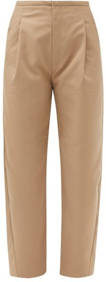 Totême Lumio Wide-leg Cropped Twill Trousers - Beige