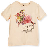 Stella McCartney Lolly Floral Record Player Jersey Tee, Pink, Size 4-12