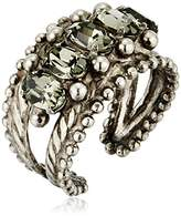 Sorrelli Core Antique Silver Tone Crystal Rock Crown Jewel Statement Adjustable Ring