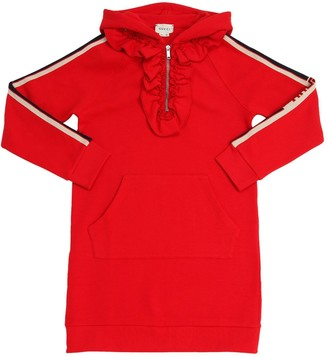 Gucci HOODED COTTON SWEATSHIRT DRESS
