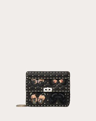 Valentino Garavani Medium Rockstud Spike.it Bag With Butterfly Patches Women Black 100% Lambskin OneSize