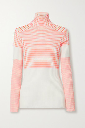 Victoria Beckham Striped Ribbed Cotton-blend Turtleneck Sweater - Off-white