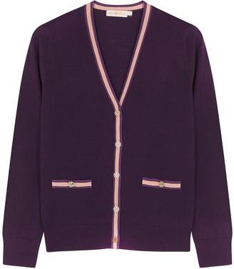 Tory Burch Madeline Purple Merino Wool Cardigan
