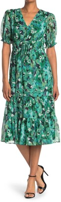 Maggy London Double Elastic Waist Dress w/ Tiered Skirt