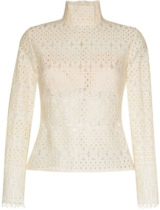 ANOUKI Open-Knit High Neck Blouse