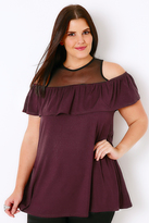 Yours Clothing Black & Wine Cold Shoulder Top With Mesh Panel