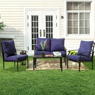Winston Porter Loscalzo Patio 4 Piece Sofa Seating Group with Cushions Cushion Color: Blue