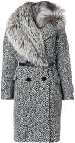 Ermanno Scervino fur trim woven coat
