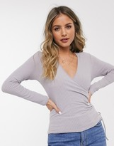 New Look wrap ruched top in gray