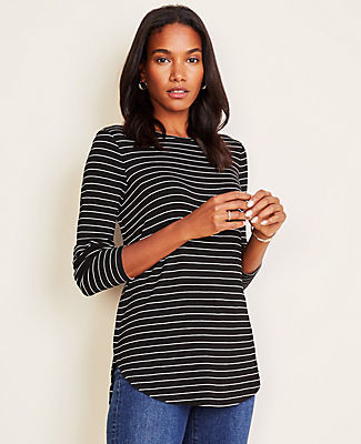 Ann Taylor Petite Striped Tunic Tee
