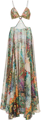 Alexis Marteena Cutout Printed Chiffon Maxi Dress