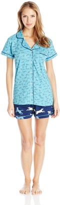 Hatley Little Blue House By Women's Classic Labs LBH Ladies Pajama Tee Set