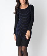 Yuka Paris Black & Indigo Wave Leya Sweater Dress