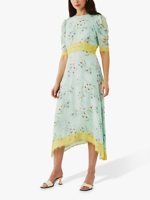 Ghost Jay Floral Lace Georgette Midi Dress, Trailing Water Floral
