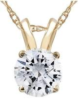 Pompeii3 3/4ct Diamond Solitaire Pendant 14k Yellow Gold Womens Necklace Enhanced.