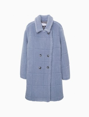 Calvin Klein Faux Fur Sherpa Double Breasted Coat