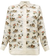 Bottega Veneta Hawaiian-print Silk-twill Shirt - Womens - Ivory Multi