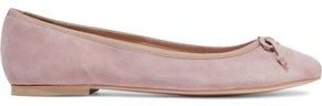 French Sole Lola Bow-embellished Suede Ballet Flats