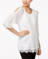 NY Collection Cold-Shoulder Pleated Blouse
