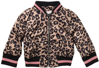 Urban Republic Sateen Leopard Print Bomber Jacket (Baby Girls)