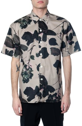 Alexander McQueen Stone Cotton Shirt With Floral Print