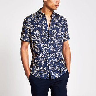 River Island Mens Navy floral print slim fit shirt