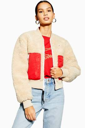 Tommy Hilfiger Womens Sherpa Bomber Jacket By Tommy Jeans - Oatmeal
