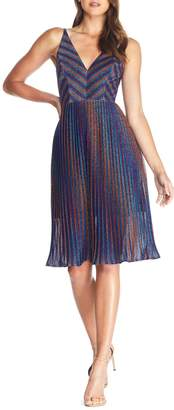 Dress the Population Haley Metallic Stripe V-Neck Cocktail Dress