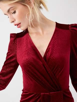 Very Textured Velvet Wrap Dress - Burgundy