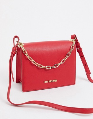 Love Moschino shoulder bag with chain strap in red