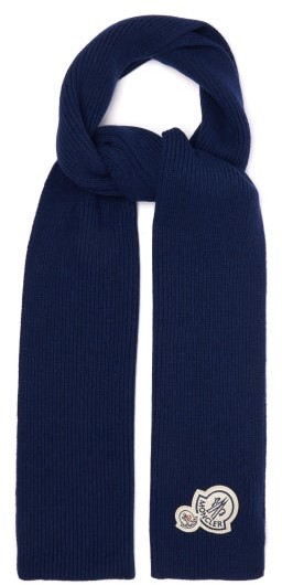 Moncler Logo-patch Wool-blend Ribbed Scarf - Mens - Blue
