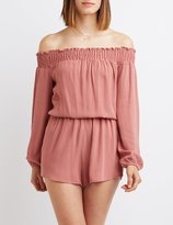 Charlotte Russe Smocked Off-The-Shoulder Romper