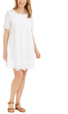 Style&Co. Style & Co Petite Cotton Eyelet Babydoll Dress, Created for Macy's