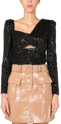 Self-Portrait Sequin-Embellished Asymmetric Neckline Top