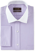 Tasso Elba Men's Classic/Regular Fit Non-Iron Lavender Twill Bar Stripe Contrast Collar French Cuff Dress Shirt, Only at Macy's